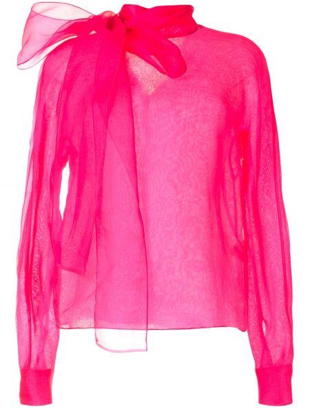 Розовая блузка с длинным рукавом из органзы с бантом с воротником The 2nd Skin Co