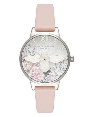 Часы на кожаном ремешке розовый с круглым циферблатом Olivia Burton