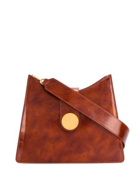 Brązowy z paskiem skórzana torebka z prawdziwej skóry Elleme