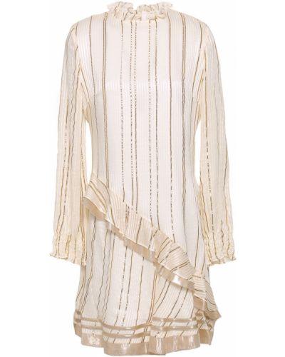 Шелковое бежевое платье мини с подкладкой Derek Lam 10 Crosby