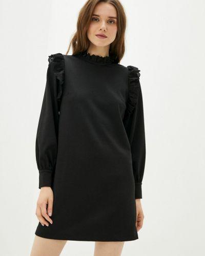 Прямое черное платье А-силуэта Naf Naf