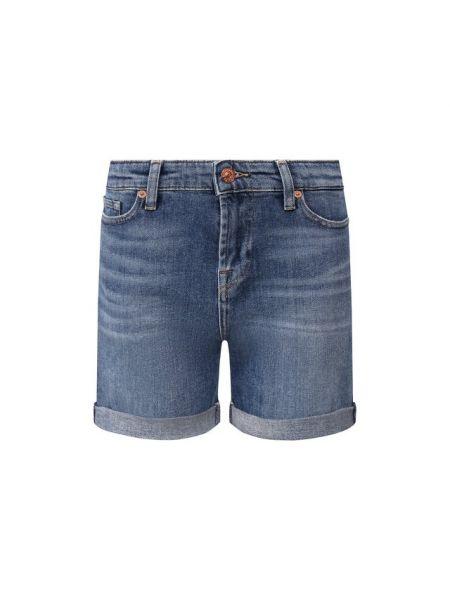 Хлопковые синие джинсовые шорты со стразами 7 For All Mankind