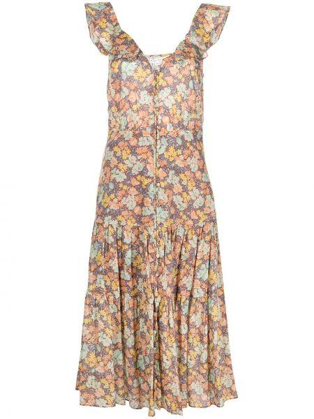 Платье миди свободного кроя с воротником в цветочный принт Veronica Beard