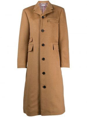 Коричневое шерстяное пальто классическое с карманами Thom Browne