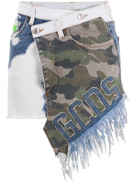 Джинсовая юбка асимметричная с цветочным принтом Gcds