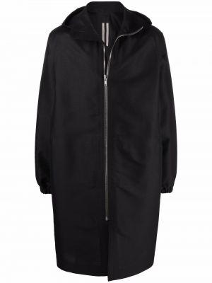 Klasyczny czarny długi płaszcz z kapturem Rick Owens