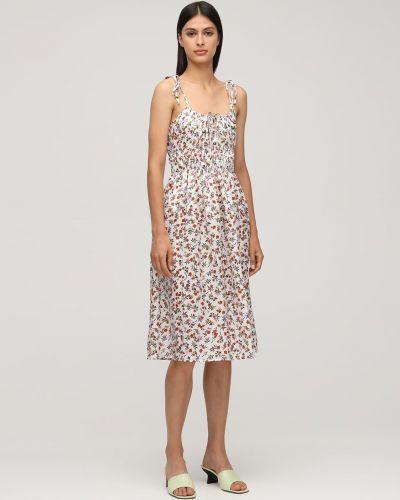 Biała sukienka midi z jedwabiu z printem Ciao Lucia