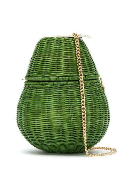 Зеленая соломенная сумка на плечо Serpui