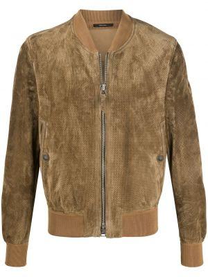 Кожаная куртка на молнии - коричневая Tom Ford