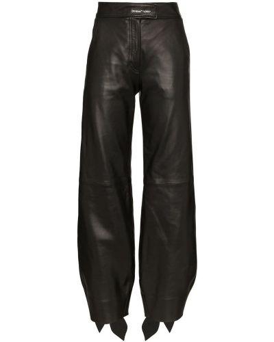 Czarne spodnie skorzane Off-white