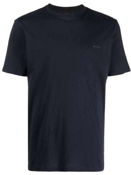 Синяя прямая футболка с вырезом Boss Hugo Boss