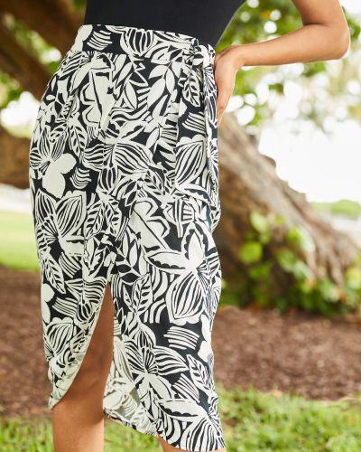 Lniana czarna spódnica w kwiaty Orsay
