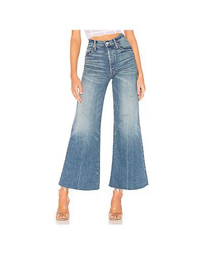 Расклешенные джинсы с эффектом потертости синие Mother