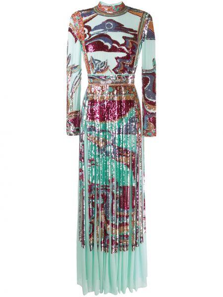 Шелковое вечернее платье с пайетками на молнии с длинными рукавами Emilio Pucci