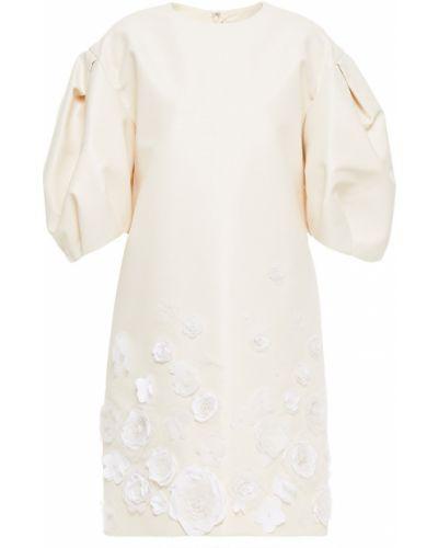 Бежевое платье с подкладкой с аппликациями Carolina Herrera