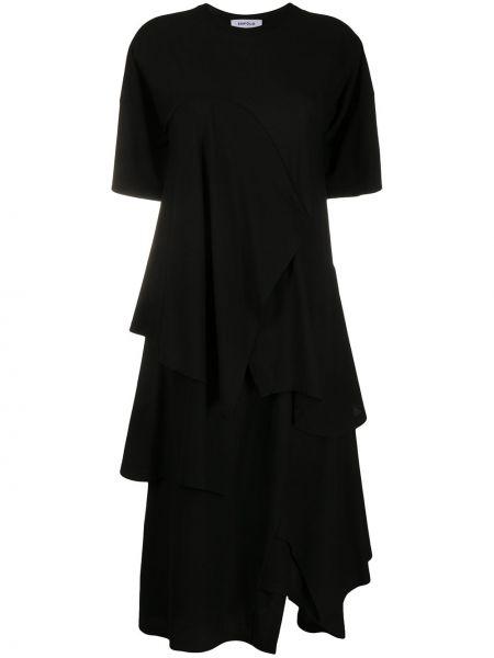 Sukienka rozkloszowana krótki rękaw - czarna Enfold