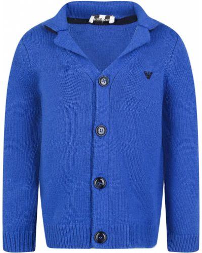 Шерстяная синяя кардиган Armani Junior