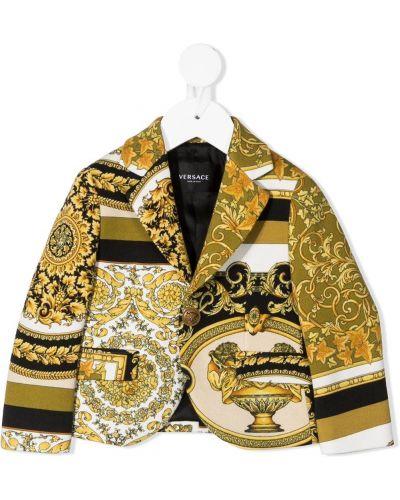 Желтый однобортный удлиненный пиджак на пуговицах Young Versace