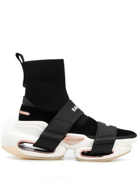 Черные высокие кроссовки из овчины Balmain