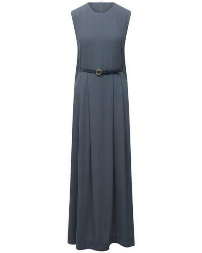 Шерстяное синее платье с подкладкой Petar Petrov