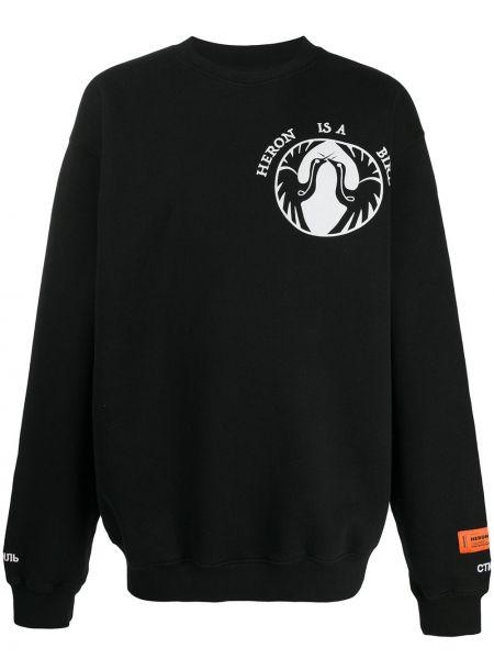 Czarny długo bluza na szyi z logo Heron Preston