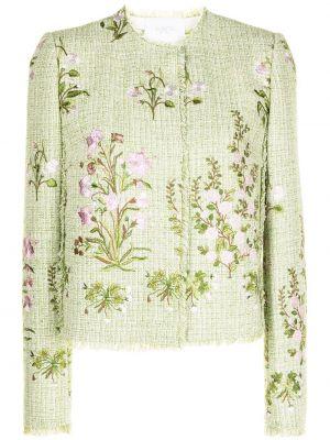 Прямой зеленый удлиненный пиджак твидовый Giambattista Valli
