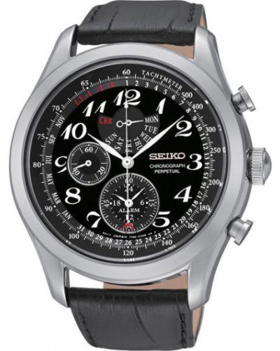 Часы водонепроницаемые с кожаным ремешком черный Seiko
