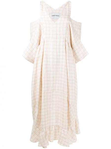 Платье миди с V-образным вырезом в клетку Henrik Vibskov