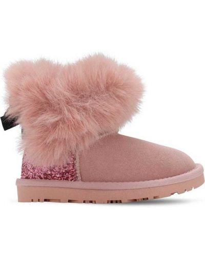 Zamsz różowy buty na pięcie Monnalisa