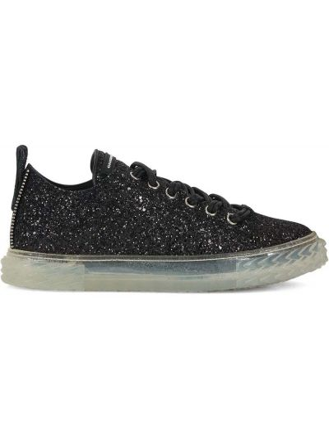 Czarne sneakersy skorzane na obcasie Giuseppe Zanotti