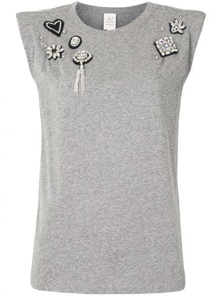 Хлопковый серый топ без рукавов с круглым вырезом Cinq À Sept