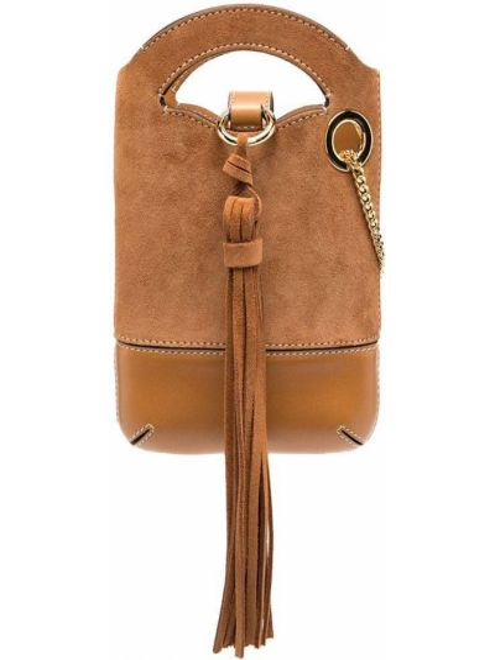 Skórzany brązowy torebka na łańcuszku Chloe