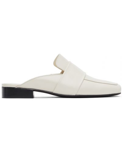 Кожаные белые тапочки на каблуке квадратные Dorateymur