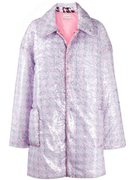 Розовое пальто классическое оверсайз с воротником с пайетками Natasha Zinko