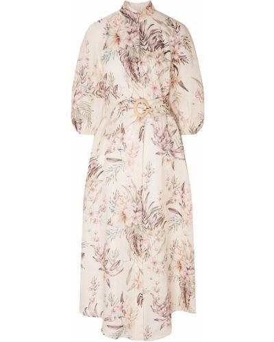 Платье с поясом на пуговицах платье-рубашка Zimmermann