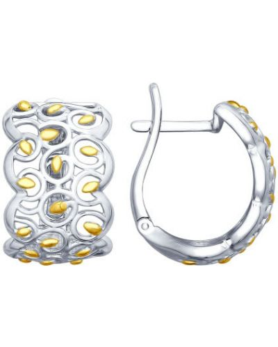 Серебряные серьги позолоченные золотые Sokolov