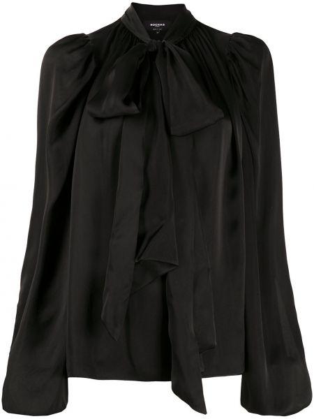 Черная блузка с воротником с бантом с завязками Rochas