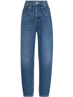 С завышенной талией хлопковые синие джинсы с высокой посадкой Re/done