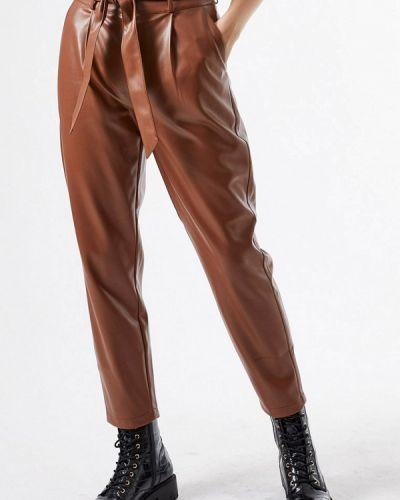 Коричневые кожаные брюки Dorothy Perkins