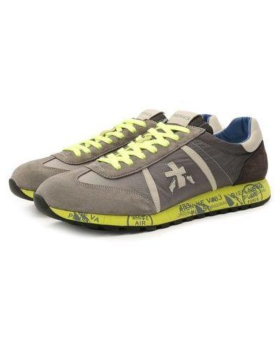 Комбинированные серые кожаные кроссовки Premiata