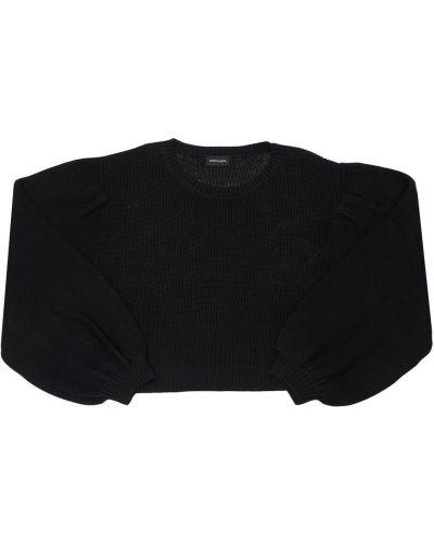 Шерстяной свитер с аппликациями свободного кроя с круглым вырезом Monnalisa
