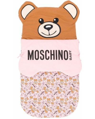 Коричневая хлопковая ватная сумка с заплатками Moschino Kids