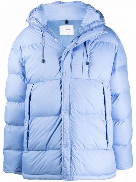 Niebieski długi płaszcz z kapturem Soulland