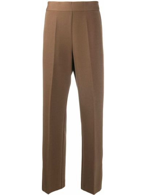 С завышенной талией шерстяные коричневые укороченные брюки Altea