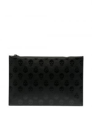 Кожаная черная сумка на молнии Alexander Mcqueen
