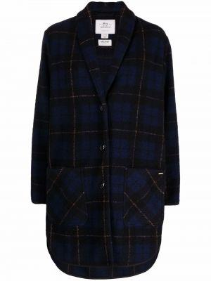 Синее длинное пальто Woolrich