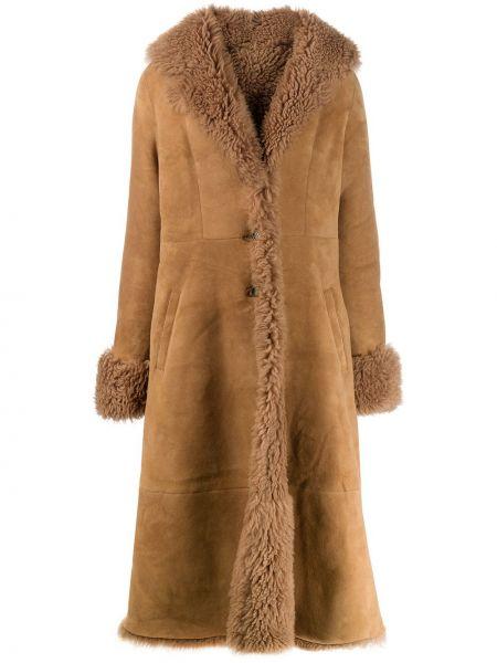 Пальто из овчины - коричневое Liska