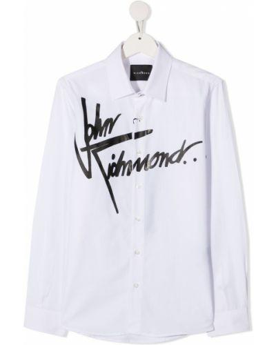 Хлопковая белая классическая рубашка с воротником John Richmond Junior