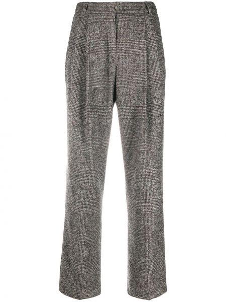 Серые плиссированные укороченные брюки с поясом из альпаки Agnona