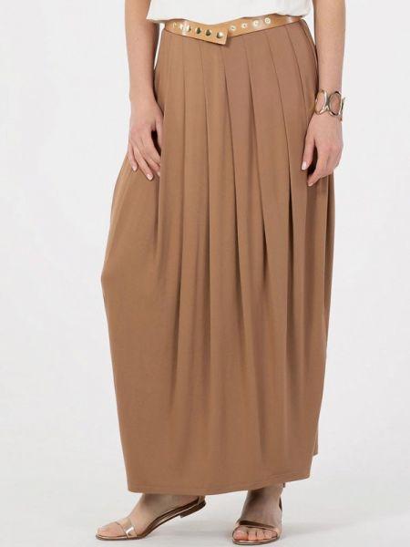 Плиссированная коричневая плиссированная юбка Petit Pas